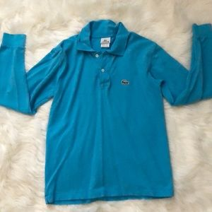 Authentic Lacoste Blue Long Sleeve Polo Shirt